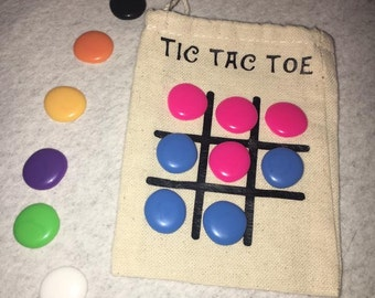 Tic Tac Toe, Portable Game, Game in a Bag, Stocking Stuffer, Easter Basket, Travel Game, classroom gift, birthday party favors