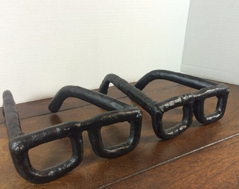 Unique Bookends ~ Heavy Cast Iron Black Unique Book Ends ~ 2 Mid Century Modern Style Glasses ~ Midcentury Paperweights Retro Pop Art