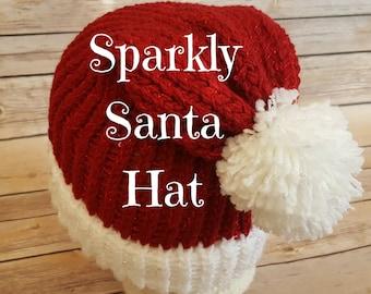 Sparkly Santa Hat, Santa Beanie Hat, Santa Hat, Christmas Hat, Christmas Beanie Hat, Slouchy Santa Hat, Knitted Santa Hat, Knit Santa Hat