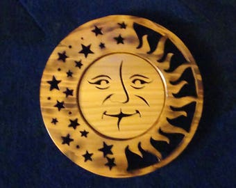 Sun Moon and Stars scrolled Cedar Celestial Wood Art