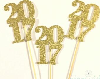 Graduation Centerpiece Sticks 2017, Graduation Party, Party Decor, Graduation Decorations, Graduation, Class of 2017 , Set of 3, 2017