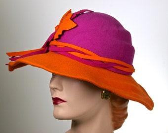 Wide Brim Fuchsia and Orange Felt Hat, Medium Brim Hat for Women, ONE of a KIND HAT