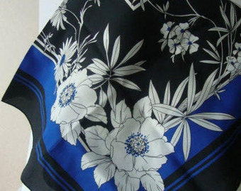 VIntage designer Floral scarf, GINA RUCCINI, blue, black, white, gift for women, gift for girlfriend, womens gift, Christmas scarf, Vintage