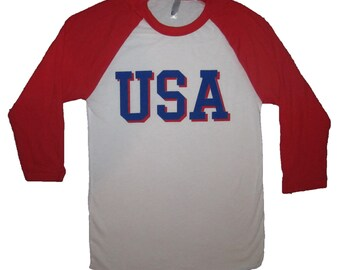 raglan sleeve USA america star shirt tee 3/4 vintage patriotic graphic funny red white and blue merica murica baseball style cute awesome