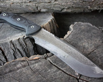 """Handcrafted FOF """"Harbinger"""" Custom Full Tang Recurved Survival and Hunting knife"""