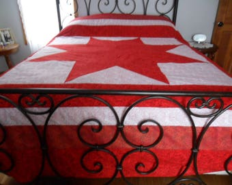 Red  And White Lone Star Quilt Top