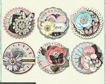 On Sale 50% Mom Cluster Seals Embellishments Kit for Digital Scrapbooking, Mother's Day