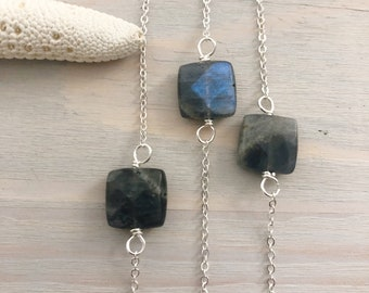 Labradorite Necklace - Dainty Stone Necklace - Minimal Necklace - Layering Necklace - Simple Stone Necklace - Sterling Silver Necklace