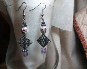 pewter and cloisonne earrings