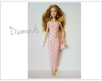 TALL Barbie Fashionistas Doll Clothes - DIAMONDS Dress, Purse and Jewelry - Handmade Fashion by dolls4emma