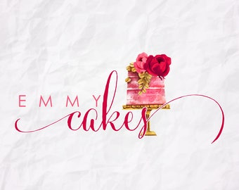 Premade Logo Design-Cake Logo-Watercolor Logo-Bakery Logo-Watermark-Cakes-Logo Design-Hand Drawn-Custom Logo Design-Logo