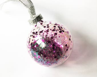 Pink Iridescent Glitter Filled Glass Christmas Bauble 6cm