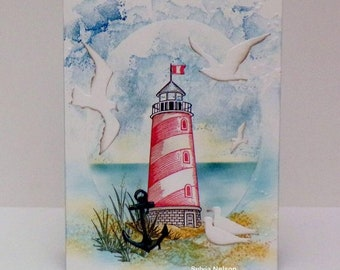 Lighthouse watercolor card...Beautiful Seascape Birthday card..Stampin'Up! stamps...Lighthouse Stampabilities...Birds Impression Obsessions!