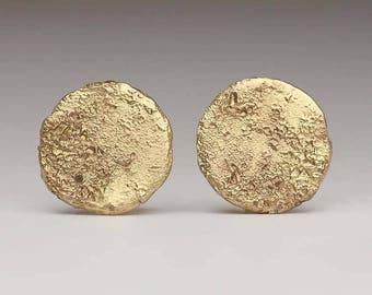 9ct Gold Flat Circle Stud Earrings mYpz83