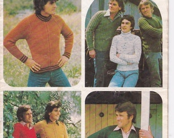 ON SALE Patons Knitting Pattern No 475 for Men in Totem, Bluebell, Jasmin, Caressa, Columbine, Katie - Vintage 1970's