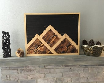 Mountain Range Wood Art