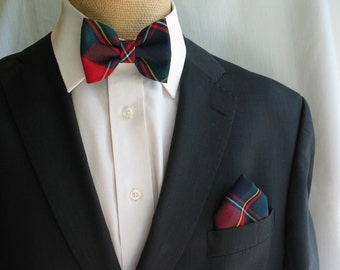 Men's Navy and Red Bow Tie and Pocket Square,  Wedding Self Tie Bow Tie and Cuff Links,  Quebec Tartan Bow Tie,  Toddler Birthday Bow Tie