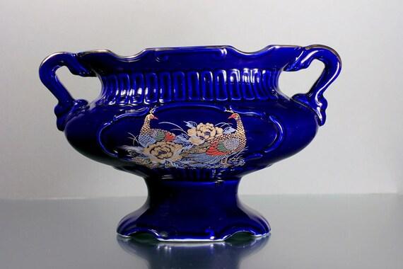 Japanese Vase, Gold Peacocks, Cobalt Blue, Urn, Planter, 2 Handled, Pedestal