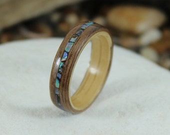 Oak & Walnut Wood Ring With Abalone Inlay, Wooden Rings, Wood Rings For Men, Wooden Wedding Rings, Bentwood Rings, Abalone Ring