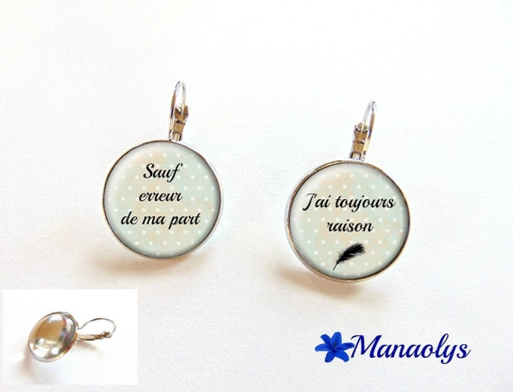 Earrings sleepers quote 2177 glass cabochons