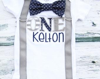 Baby Boy first birthday Navy Polka Themed ONE Birthday Cake Smash Outfit, Baby boy grey and navy first birthday Cake smash suspender bow tie