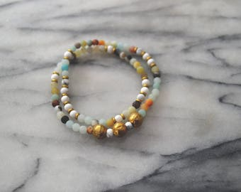 Ethiopian Brass Wrap Bracelet // Amazonite / Howlite