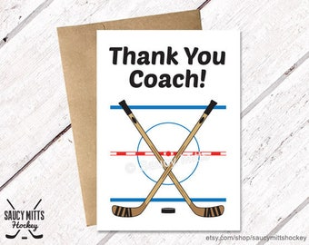 Thank You Hockey Coach Card - Hockey Crossed Sticks