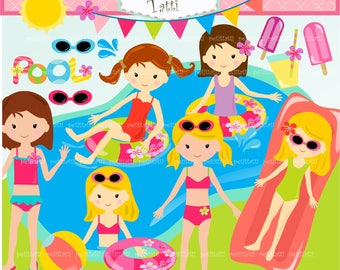 ON SALE Pool Party Clipart / Pool Party Clip Art,Girls Birthday Party Clip Art,girls pool party Clip Art,Summer Clip Art