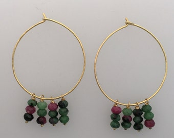 Solid 18k gold hoops with faceted ruby & zoisite
