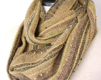 Handwoven Infinity Scarf Hand Woven Wool Scarf Woven Collar Wool Infinity Scarf Weaving Women's Scarves Unique Handmade Clothing Men's Scarf