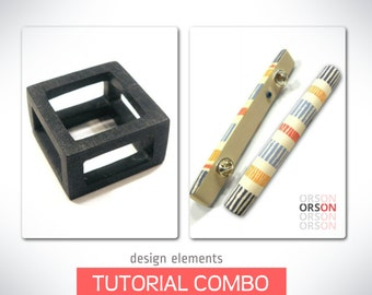 Orson's Combo Design Elements Original Tutorials Cuboid & Hollow Stick in polymer clay