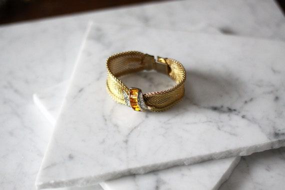 1950s gold mesh bracelet // gold topaz bracelet // vintage jewlery