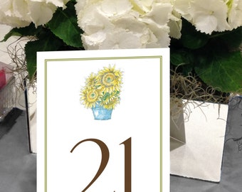 Sunflower Table Numbers, Fall Table Numbers, Summer Flower Table Numbers, Garden Table Numbers, 1 - 50 Instant Download Table Numbers