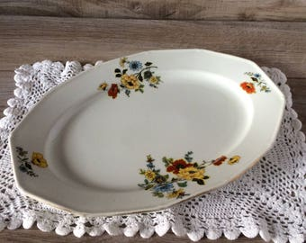 White Bone China Serving Dish, Platter, Tray / Red & Yellow Floral, Gold Trim / Vintage Union K made in Czecho-Slovakia / Czechoslovakia