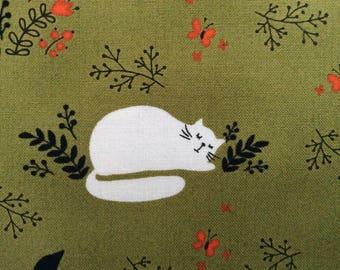 White Kitty Cat Fabric