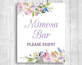 Mimosa Bar Please Enjoy 5x7, 8x10 Printable Bridal Shower, Baby Shower, Wedding Sign - Purple Lavender Watercolor Flowers - Instant Download