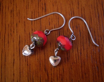 Tomato Red Czech Glass & Heart Dangle Earrings with Antique Silver Finish Hooks