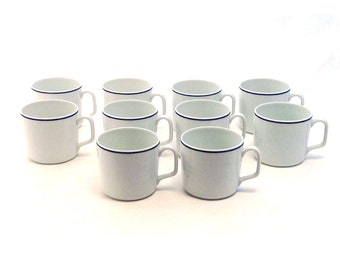 Georges Boyer, Limoges France, White and Blue Mugs, Set of 10