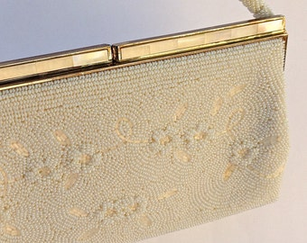 Vintage Beaded Evening Bag In Ivory White With Mother Of Pearl Trim, Bridal Purse, Bridal Evening Bag,