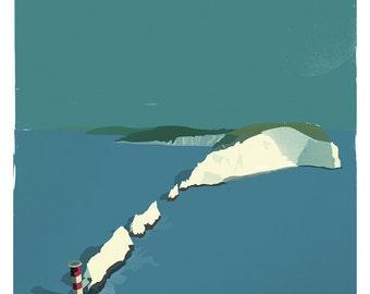 The Needles, Isle of Wight retro print (a3)