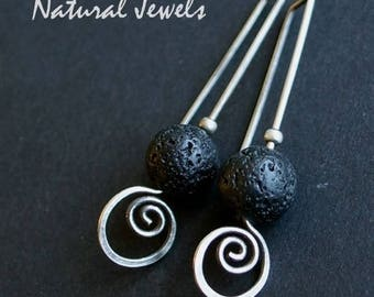 925 Silver earrings with volcano lava stones