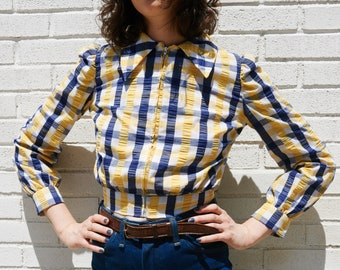 1970s Plaid Zip-front Blouse
