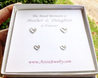 Mother Daughter Heart Studs Set. 2 Pairs Sterling Silver Heart Studs Set in Medium and Small Earrings. Mothers Day Earrings.