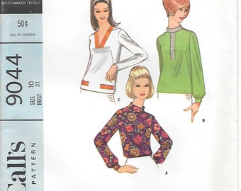 CLOSE OUT/ Size 10 UNCUT-McCalls 9044 1960s Blouse with Stand up Collar or V-neck Vintage Sewing Pattern
