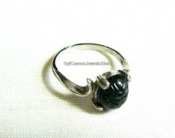Black Onyx Scarab Midi Sterling Silver Ring Jewelry SylCameoJewelsStore