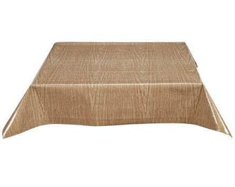 Rectangle Faux Bois Elm Oilcloth Tablecloth with Simple Hem