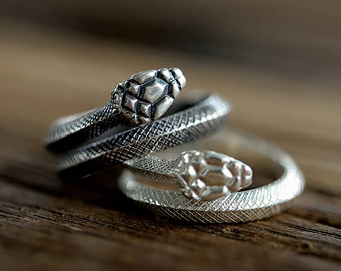 Sterling Silver Snake Ring | Wrapped Serpent Ring | Adjustable Viper Ring | Snake Jewelry for Men and Women | Animal Ring |Snake Couple Ring