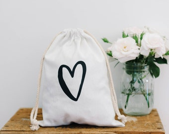 Love Heart Canvas Gift Bag
