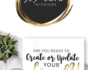 255 - JOY CARA, LOGO Premade Logo Design, Branding, Blog Header, Blog Title, Business, Brand, Blogger, Modern, Black and Gold, Brandmark,
