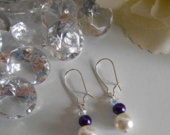 "Stud Earrings ""collection harmony"" Purple and ivory"